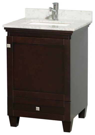 Acclaim 24 espresso vanity carrera marble top for Marble top console sink