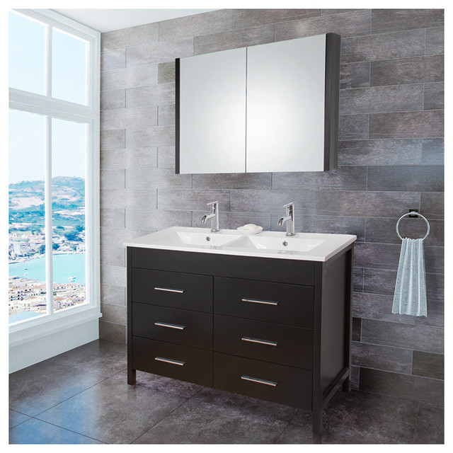 Vigo VG09042002K 48 Inch Maxine Double Bathroom Vanity With Medicine Cabinet