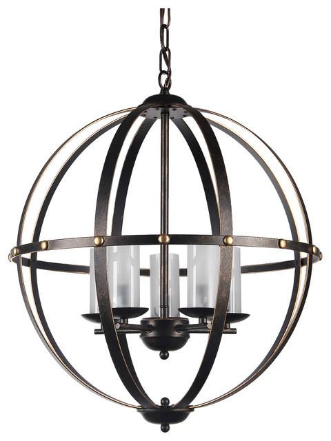 Antique Bronze Globe Sphere Cage Chandelier 5 Light