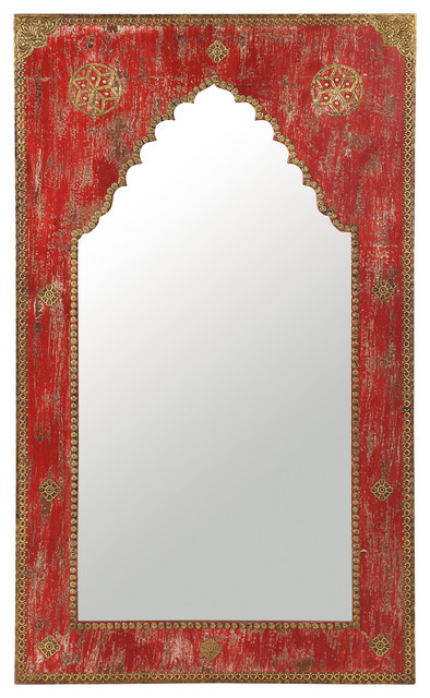 miroir sculpt en bois rouge h 110 cm anish. Black Bedroom Furniture Sets. Home Design Ideas