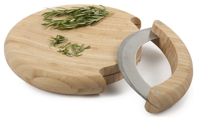 Bamboo Mezzaluna Mincing Set - Cutting Boards - new york ...