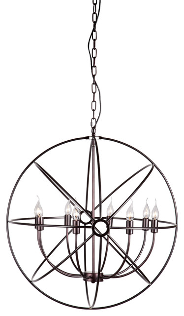 Helvine Rustic Iron Orb Chandelier Contemporary