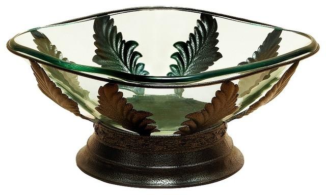 Glass Centerpiece Bowl Set Metal Copper Leaf Petal Accents