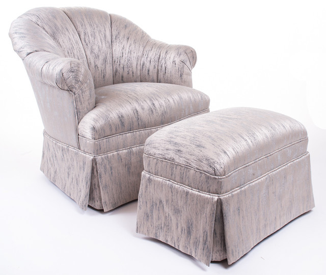 Small Chair With Ottoman: Napoleon III Style Chair And Small Ottoman Transitional