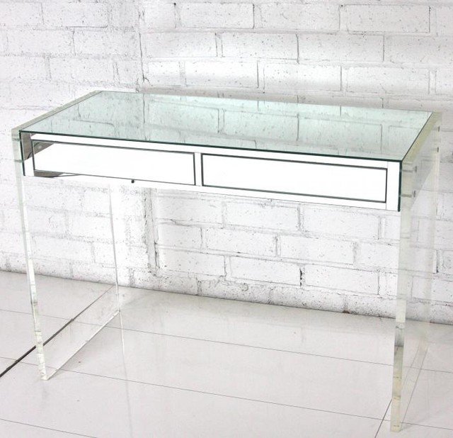 Mirror & Lucite Desk Vanity Modern Desks And Hutches