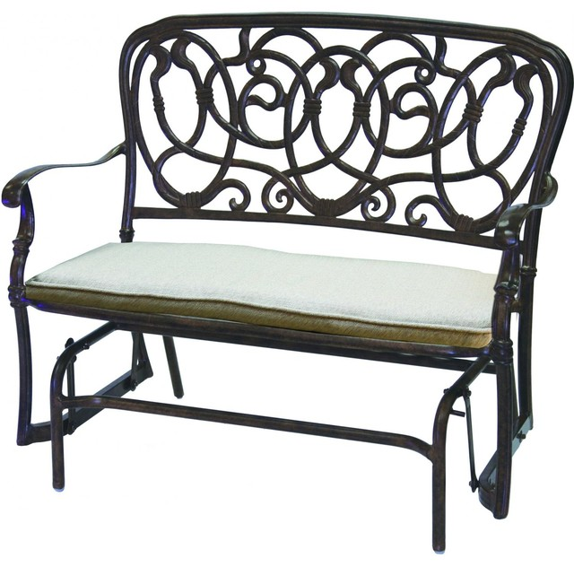 Darlee Florence Cast Aluminum Patio Bench Glider Antique Bronze Modern Gliders