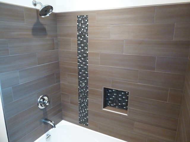 Example Of A Small Transitional Bathroom Design With An Undermount Sink Recessed Panel Cabinets