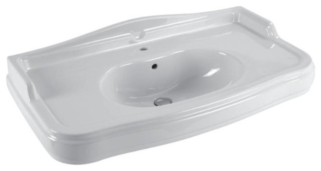 Wall Mount Sink No Faucet Hole : Classic Style Wall Mounted Bathroom Sink, One Faucet Hole contemporary ...