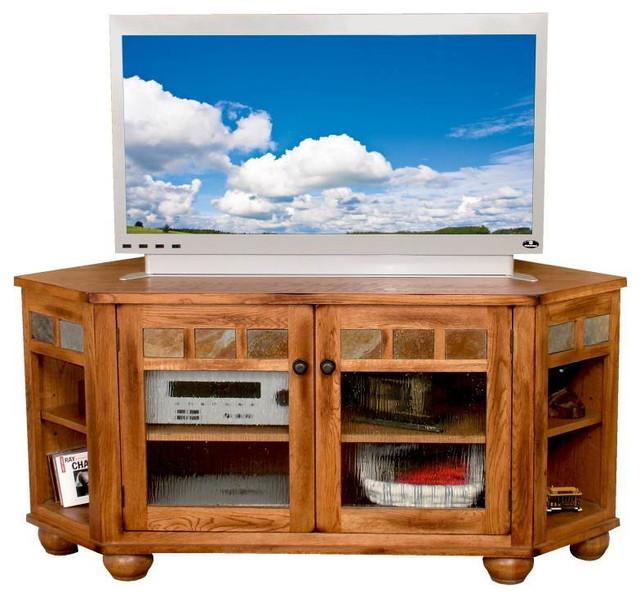 Sedona Rustic Oak WooDecorner Hutch, TV Console, 2741RO-TC - Traditional - Entertainment Centers ...