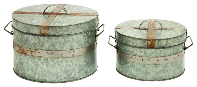 Decorative Metal Boxes With Lids : Vintage set of metal round boxes rusty lids home storage