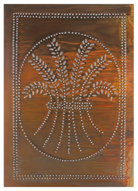 Four Handcrafted Punched Tin Cabinet Panel Primitive Wheat Design, Rustic Tin