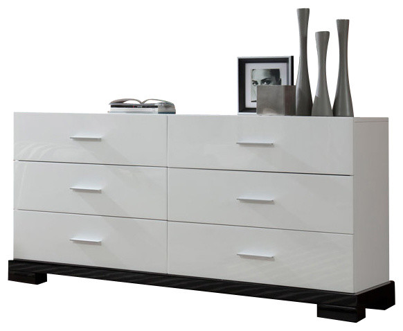 galaxy modern white 6 drawer dresser modern dressers by la furniture store. Black Bedroom Furniture Sets. Home Design Ideas