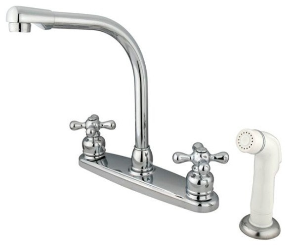 Victorian High Arch Kitchen Faucet With White Sprayer