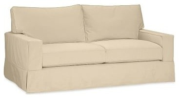 Pb Comfort Square Arm Sofa Slipcover Box Edge Brushed