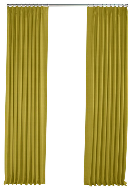 Chartreuse Green Linen Pleated Curtain Contemporary Curtains By Loom Decor