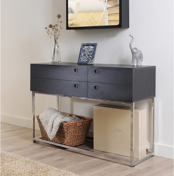 Marque functional black finish console table modern for Functional side table