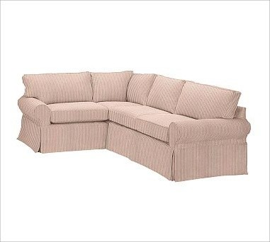 Pb Basic Right 3 Piece Small Sectional Slipcover Ticking Stripe Cardinal Red Traditional