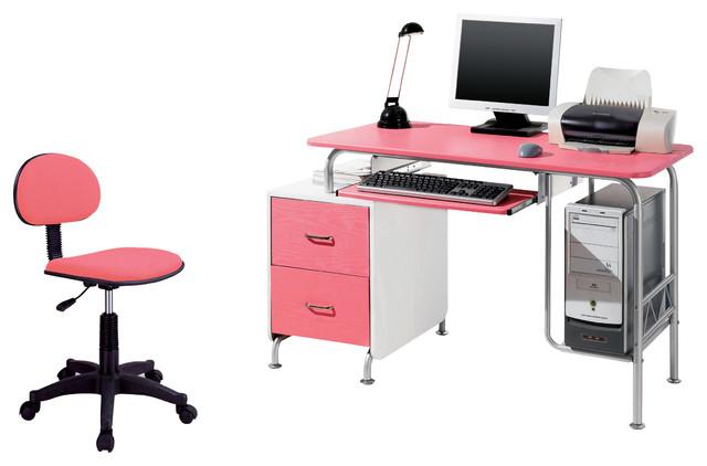 Techni Mobili Modern Steel puter Desk in Pink White