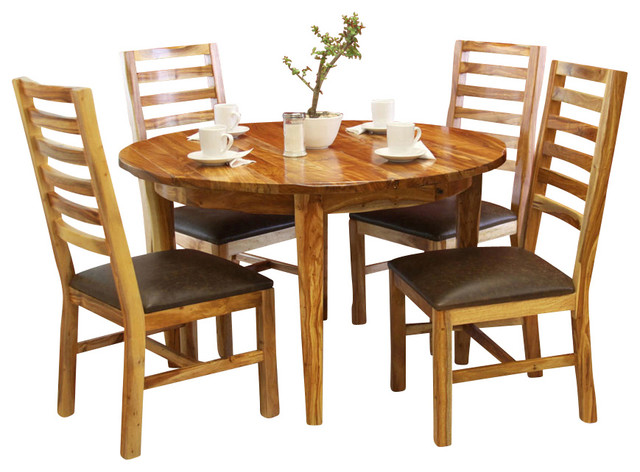 Artisan home guamuchil 5 piece round dining room set with for Traditional round dining room sets