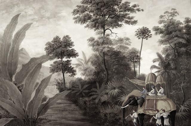 Paysage en grisaille exotique papier peint - Papier peint exotique ...