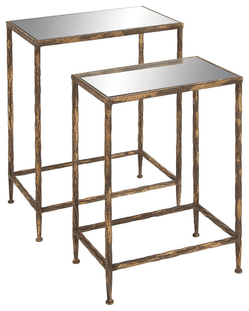 Metal and glass accent table set of 2 farmhouse for Farmhouse end table set