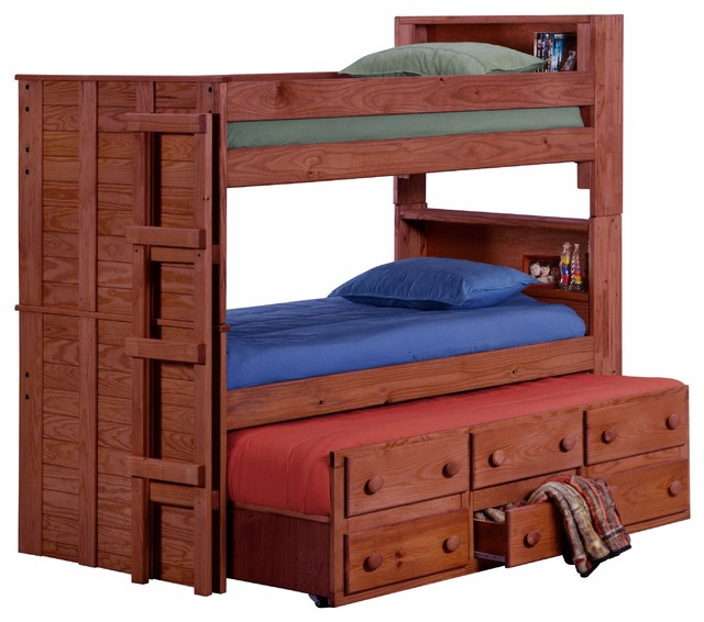 Thornhill Extra Long Twin Over Twin Bunk Bed Mahogany