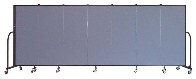 Freestanding 60 in. Portable Room Divider w 7 Panels (Blue Tide Vinyl ...