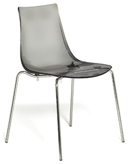 Olivia chaise empilable transparente gris fum contemporary dining chairs - Chaise transparente elizabeth ...