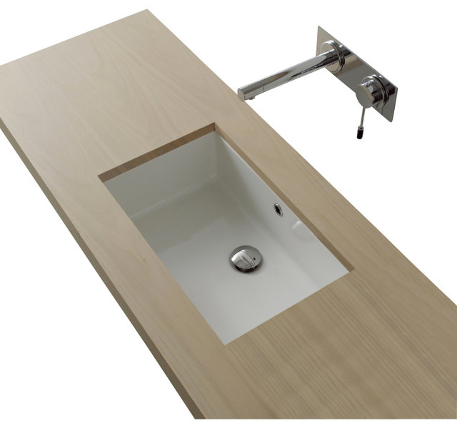 Rectangular White Ceramic Undermount Sink Contemporary Bathroom Sinks By Thebathoutlet