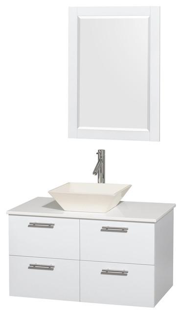 36 Single Bathroom Vanity Stone Countertop Sink 24 Mirror Contemporary Bathroom