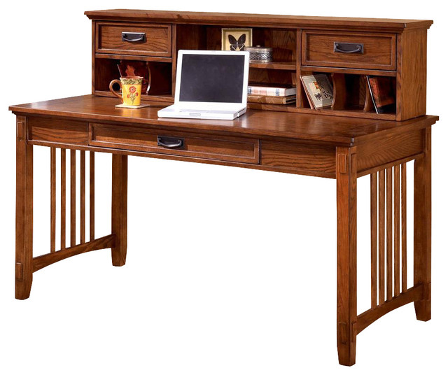 Mission style writing desk w low hutch craftsman desks for Craftsman style desk plans