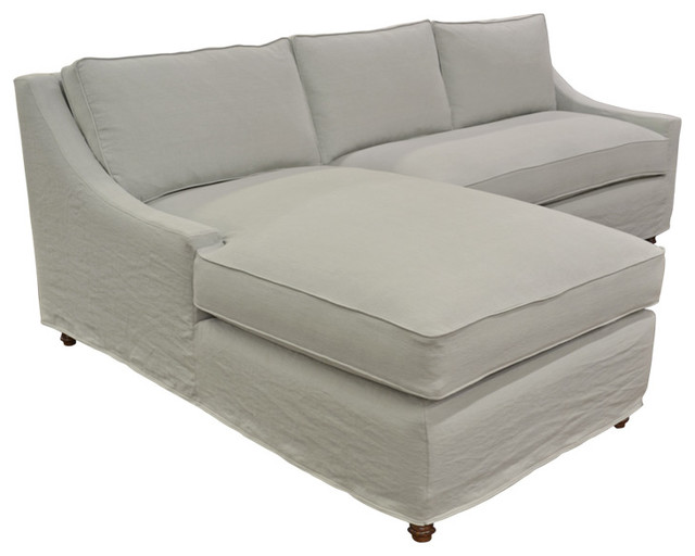 Slipcovered Linen Chaise Sectional Beach Style