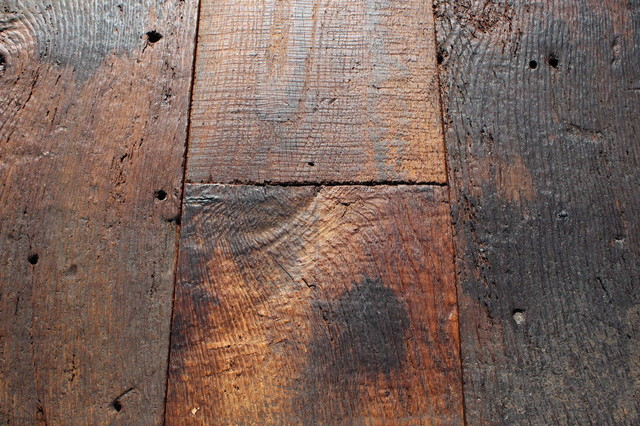 Rustic planks made of antique reclaimed french oak traditional