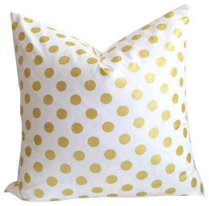 Modern Gold Pillows : Gold Polka Dot Pillow Cover - Contemporary - Decorative Pillows - by Cushion Cut Decor