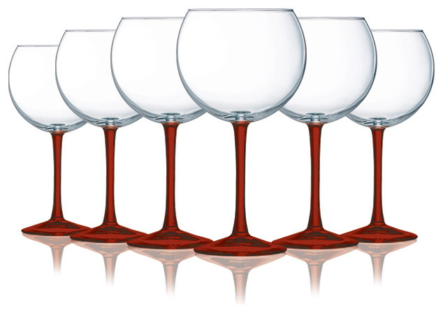 Red Balloon Cachet Wine Glass With Beautiful Fun Colored