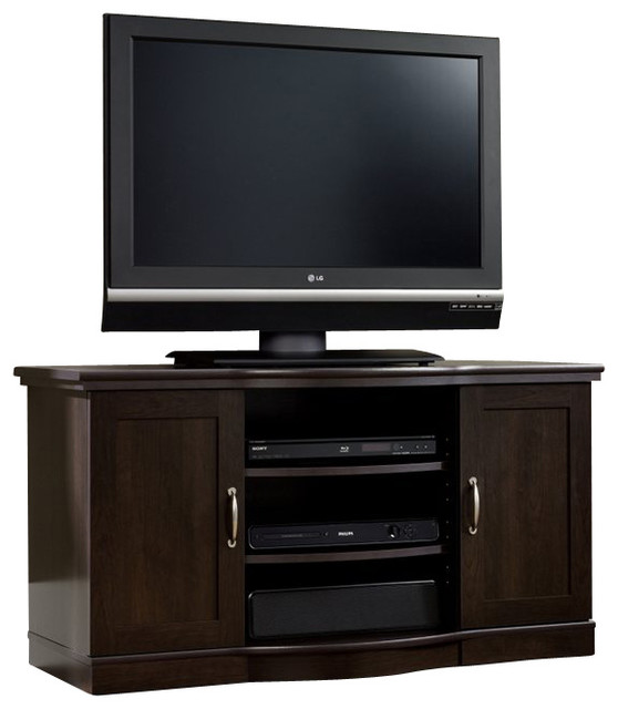 Sauder Select TV Stand Credenza in Cinnamon Cherry transitional-entertainment-centers-and-tv-stands
