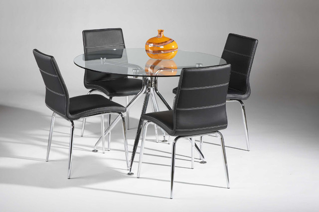 High-class Round Clear Glass Top Leather Dinette Tables