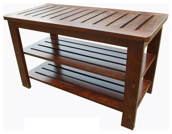 D Art Collection Home Decorative Mahogany Home Outdoor Michaela Shoe Bench Contemporary