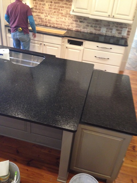 Black Pearl Granite Brushed Texture Transitional