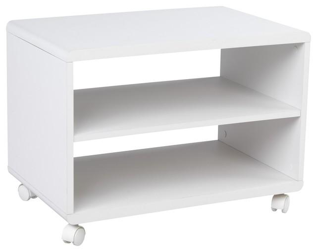 ... Meuble TV blanc à roulettes contemporain-solution-media-et-meuble-tv