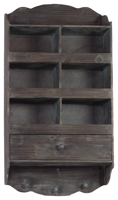 Antique Style Aged Wood Finish Six Section Shelf Wall Unit Decor - Rustic - Display And Wall ...