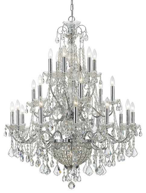 Crystorama imperial 26 light crystal chrome chandelier traditional chandeliers by lampclick - Traditional crystal chandeliers ...