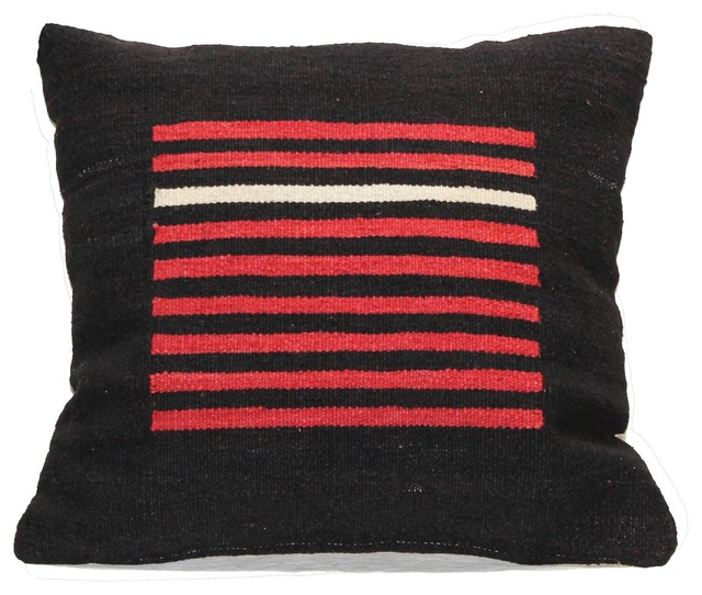 kilim striped wool pillow red and black decorative. Black Bedroom Furniture Sets. Home Design Ideas