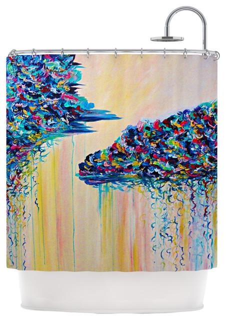 Ebi Emporium Silver Linings Beige Blue Shower Curtain Contempor