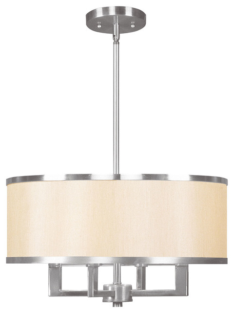 Nixie Chandelier With Champagne Shade Brushed Nickel