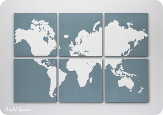 Custom Large World Map Art Collection by Right Grain - Modern - Artwork - by Etsy