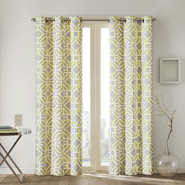 Intelligent design alana geometric print curtain panel for Window panel design