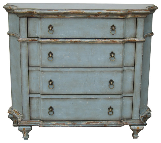 Hand Painted Distressed Pastel Blue Finish Accent Chest