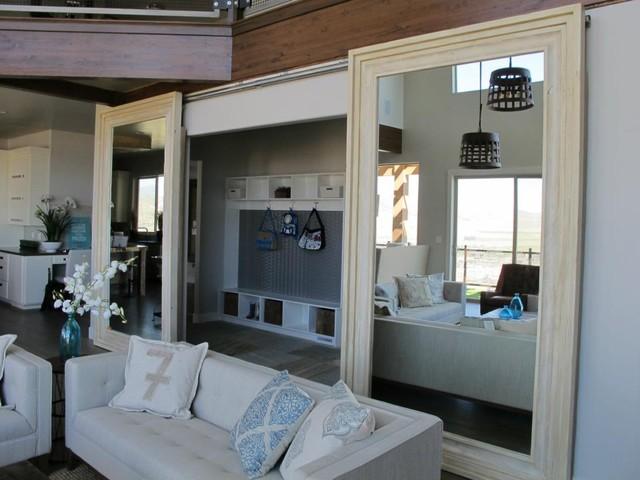 2 oversized barn doors modern interior doors salt for Mirrored barn door