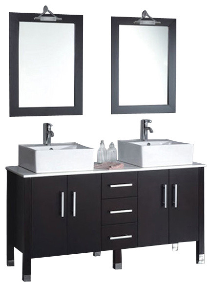 Cambridge 60 Solid Wood And Porcelain Double Vessel Sink Vanity Set Chr Faucet Modern